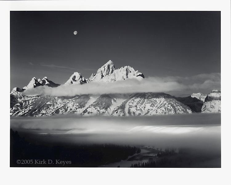 "Kirk D. Keyes - \""Moon, Tetons, Winter Sunrise\"""