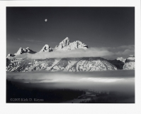 "Kirk D. Keyes - ""Moon, Tetons, Winter Sunrise\"""