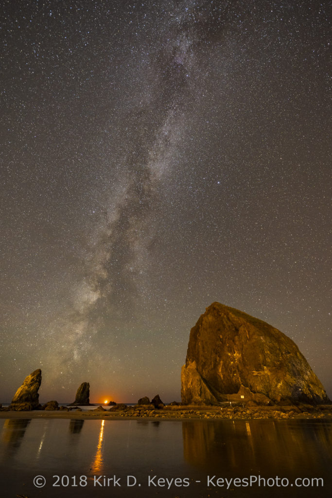 Moonset and Milky Way, Haystack Rock - Cannon Beach, Oregon