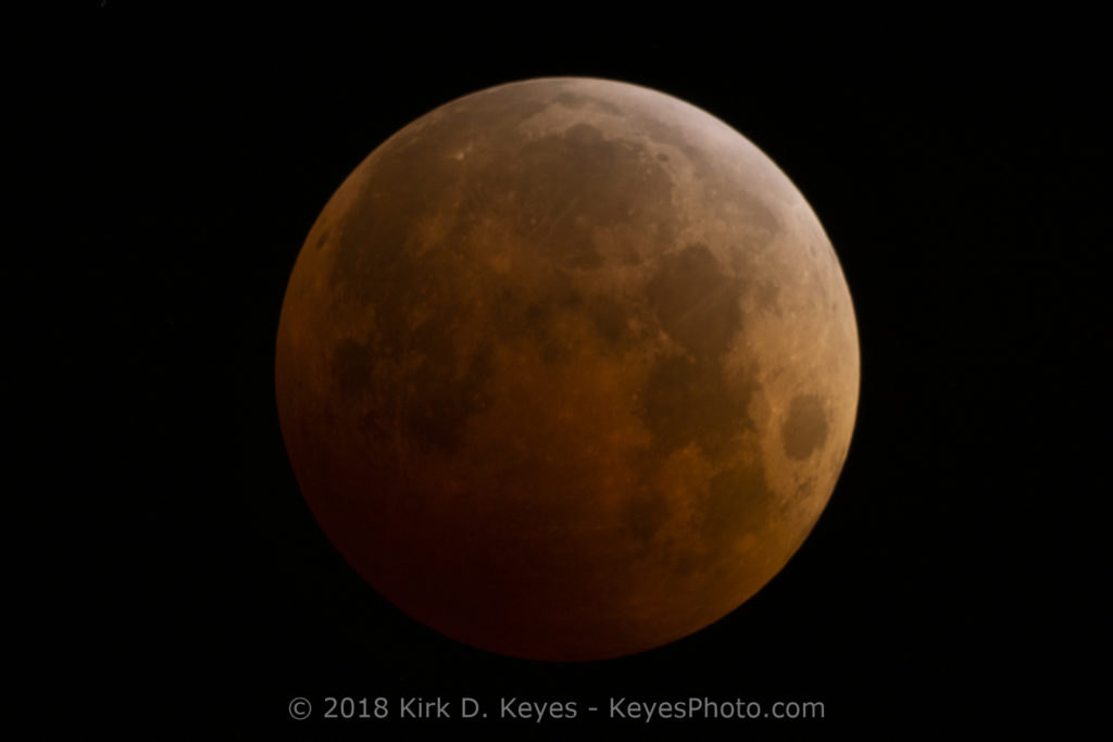 "Total Lunar Eclipse on 8 October 2014. Taken with a Sony a6000 and a Meade LX-200 8"" telescope with a 0.63 Meade Focal Reducer for an effective focal length of 1260mm. Exposure was f/6.3, ISO 800, 1.6 seconds."
